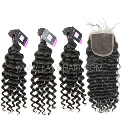 Superior Grade mix 3 bundles with lace closure Malaysian deep wave Virgin Human hair extensions
