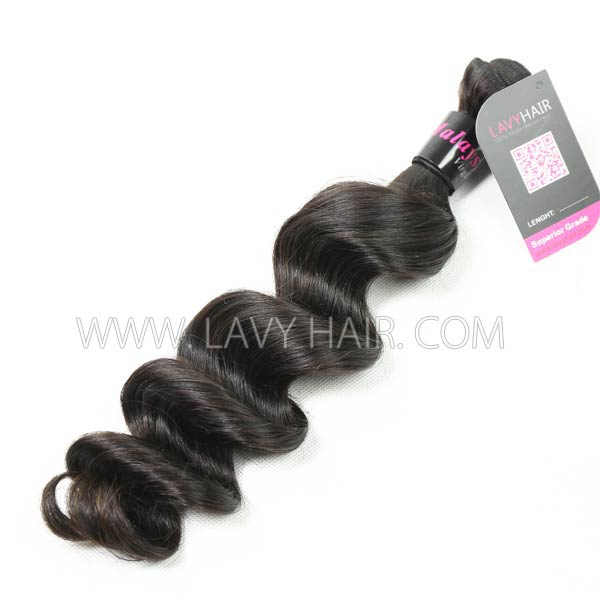 "Superior Grade mix 4 bundles with silk base closure 4*4"" Malaysian Loose Wave Virgin Human Hair Extensions"