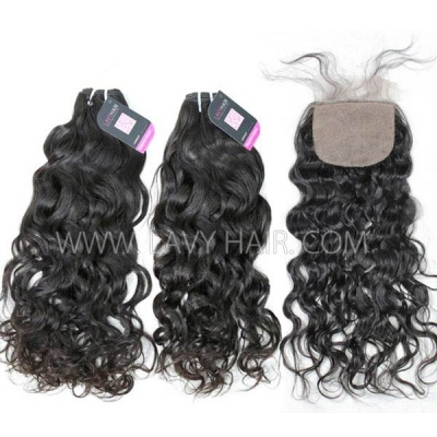 "Superior Grade mix 4 bundles with silk base closure 4*4"" Malaysian natural wave Virgin Human hair extensions"