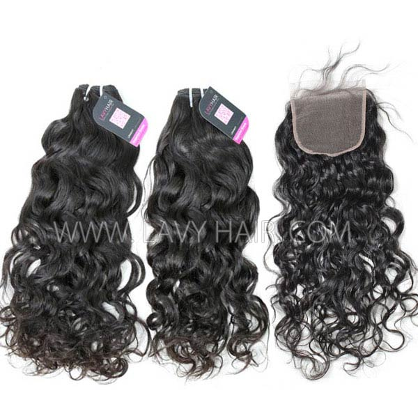 Superior Grade mix 3 bundles with lace closure Malaysian natural wave Virgin Human hair extensions