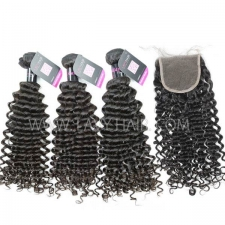 Superior Grade mix 4 bundles with lace closure Malaysian deep curly Virgin Human hair extensions