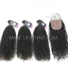 "Superior Grade mix 3 bundles with silk base closure 4*4"" Malaysian Kinky Curly Virgin Human hair extensions"