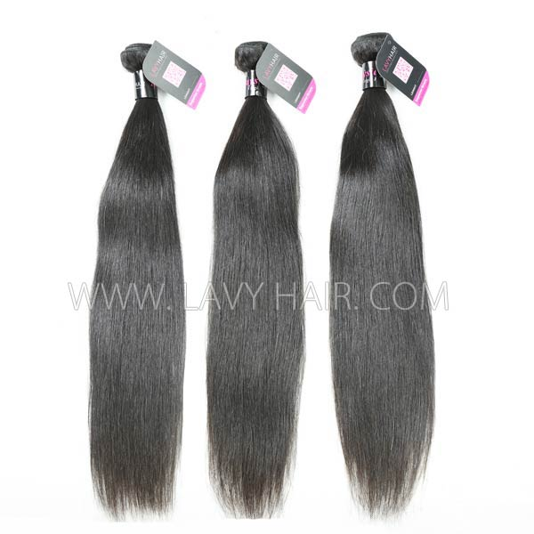 Superior Grade mix 4 bundles with lace closure Malaysian Straight Virgin Human hair extensions