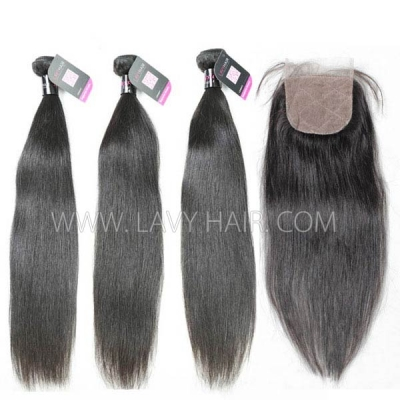 "Superior Grade mix 4 bundles with silk base closure 4*4"" Malaysian Straight Virgin Human hair extensions"