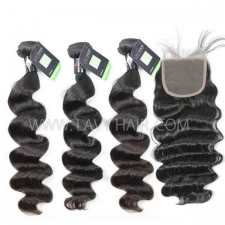 Regular Grade mix 4 bundles with lace closure Malaysian Loose Wave Virgin Human hair extensions
