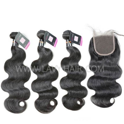 Superior Grade mix 3 bundles with lace closure Burmese Body Wave Virgin Human hair extensions