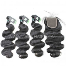 Regular Grade mix 4 bundles with lace closure Brazilian Body wave Virgin Human hair extensions