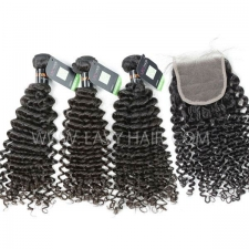 Regular Grade mix 4 bundles with lace closure Burmese Deep Curly Virgin Human hair extensions