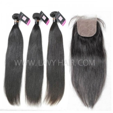 "Superior Grade mix 4 bundles with silk base closure 4*4"" Burmese Straight Virgin Human hair extensions"