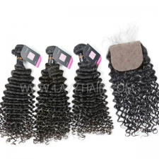 "Superior Grade mix 4 bundles with silk base closure 4*4"" Burmese Deep Curly Virgin Human hair extensions"