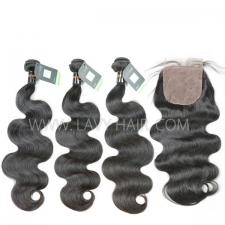"Regular Grade mix 4 bundles with silk base closure 4*4"" Burmese Body Wave Virgin Human hair extensions"