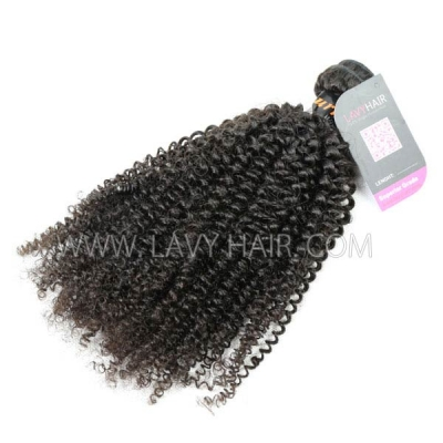 Superior Grade 1 bundle Burmese Kinky Curly Virgin Human hair extensions