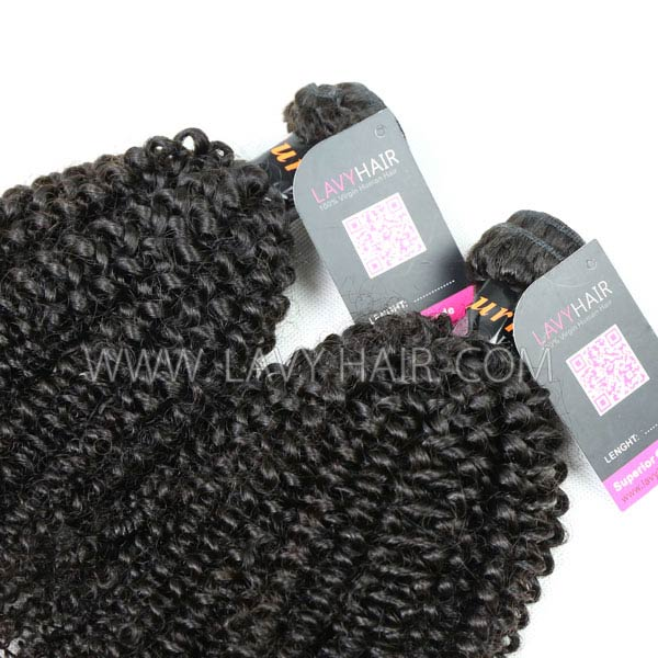 Superior Grade mix 3 bundles with lace closure Burmese Kinky Curly Virgin Human hair extensions