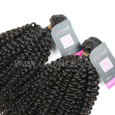 Superior Grade mix 4 bundles with lace closure Burmese Kinky Curly Virgin Human hair extensions