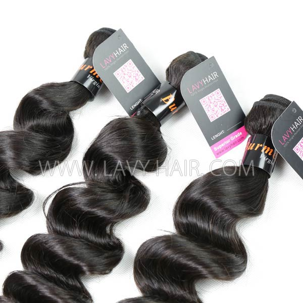 Superior Grade mix 4 bundles with lace closure Burmese loose wave Virgin Human hair extensions