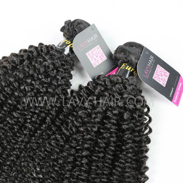Superior Grade mix 4 bundles with lace closure European Kinky Curly Virgin Human hair extensions