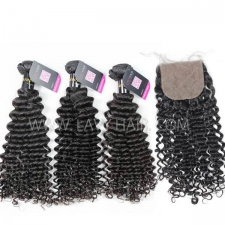 "Superior Grade mix 4 bundles with silk base closure 4*4"" European deep curly Virgin Human hair extensions"
