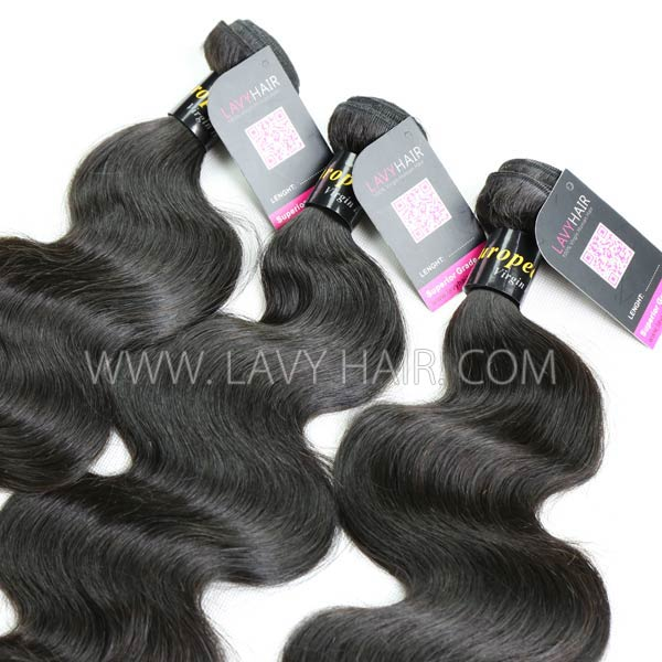 "Superior Grade mix 4 bundles with silk base closure 4*4"" European Body wave Virgin Human hair extensions"