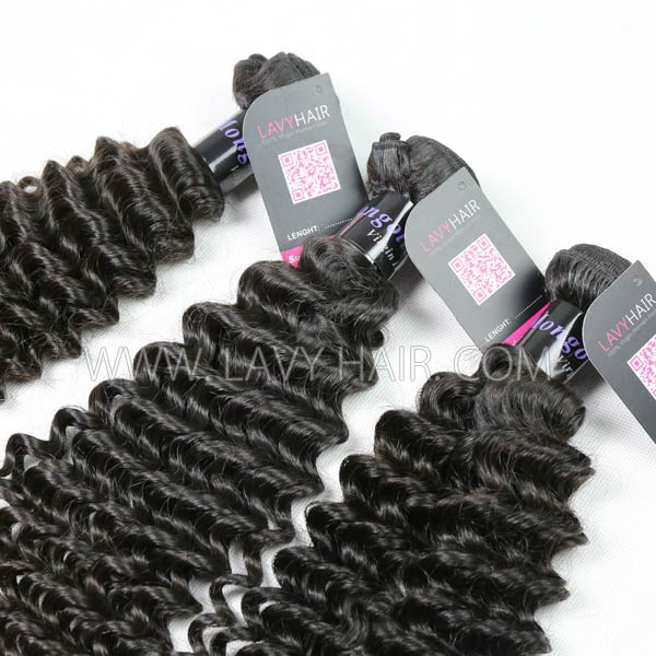 Superior Grade mix 4 bundles with lace closure Mongolian Deep Curly Virgin Human hair extensions