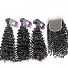 Superior Grade mix 4 bundles with lace closure European deep curly Virgin Human hair extensions