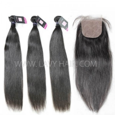 "Superior Grade mix 4 bundles with silk base closure 4*4"" Mongolian Straight Virgin Human hair extensions"
