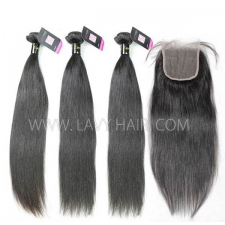 Superior Grade mix 3 bundles with lace closure European Straight Virgin Human Hair Extensions