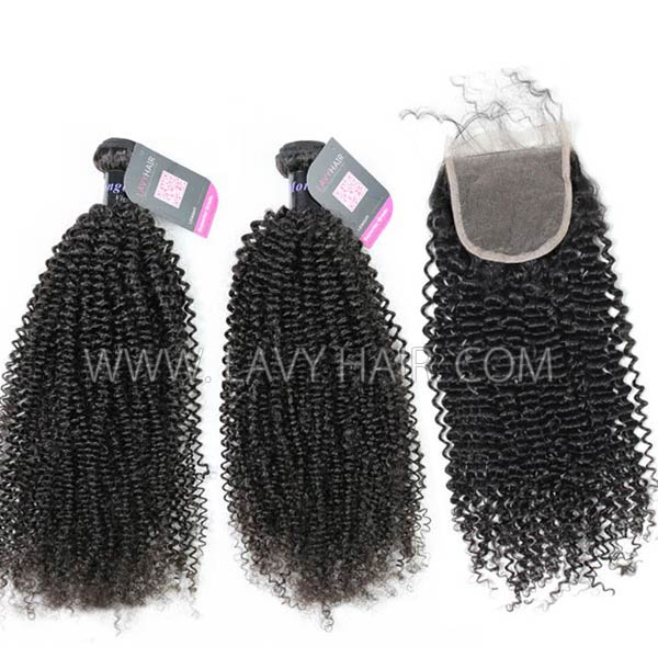 Superior Grade mix 3 bundles with lace closure Mongolian Kinky Curly Virgin Human hair extensions