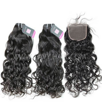 Superior Grade mix 3 bundles with lace closure Mongolian Natural Wave Virgin Human Hair Extensions