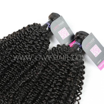 Superior Grade mix 4 bundles with lace closure Mongolian Kinky Curly Virgin Human hair extensions