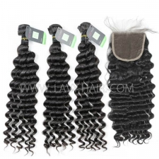 Regular Grade mix 4 bundles with lace closure European Deep wave Virgin Human hair extensions