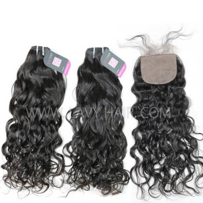 "Superior Grade mix 3 bundles with silk base closure 4*4"" Mongolian Natural Wave Virgin Human Hair Extensions"