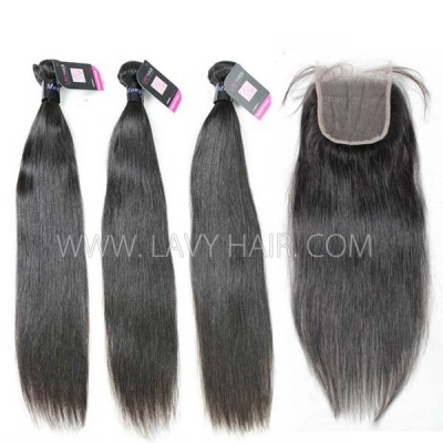 Superior Grade mix 3 bundles with lace closure Mongolian Straight Virgin Human hair extensions