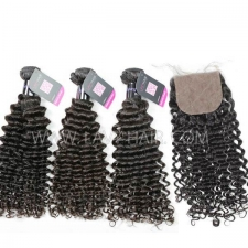 "Superior Grade mix 4 bundles with silk base closure 4*4"" Mongolian Deep Curly Virgin Human hair extensions"