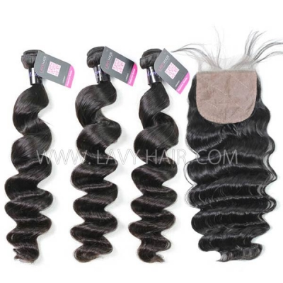 "Superior Grade mix 3 bundles with silk base closure 4*4"" Mongolian Loose Wave Virgin Human Hair Extensions"