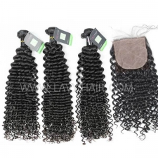 "Regular Grade mix 4 bundles with silk base closure 4*4"" European Deep Curly Virgin Human hair extensions"