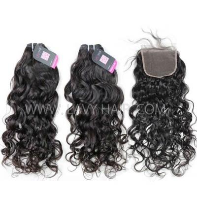 Superior Grade mix 4 bundles with lace closure European natural wave Virgin Human hair extensions