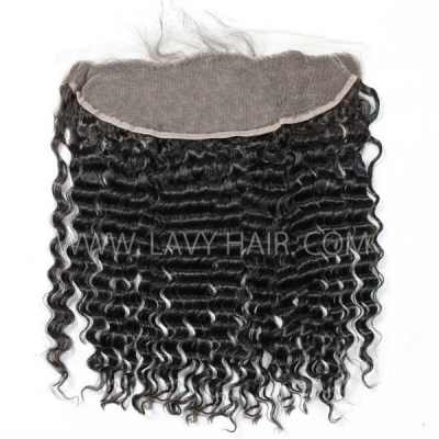 #1B Color Ear to ear 13*4 Lace Frontal Deep Wave Human hair Swiss lace