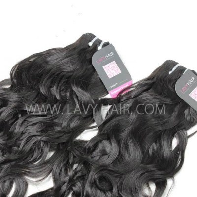 Superior Grade mix 4 bundles with lace closure Indian Natural Wave Virgin Human Hair Extensions