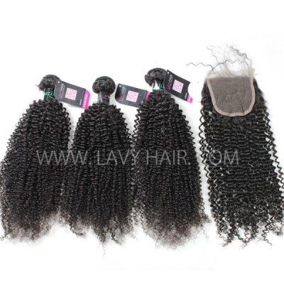 Superior Grade mix 4 bundles with lace closure Brazilian Kinky Curly Virgin Human hair extensions