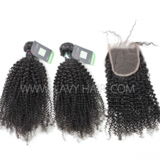 Regular Grade mix 3 bundles with lace closure Brazilian Kinky Curly Virgin Human hair extensions