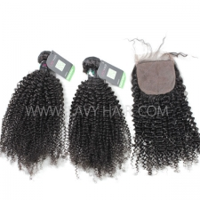 "Regular Grade mix 3 bundles with silk base closure 4*4"" Brazilian Kinky Curly Virgin Human hair extensions"