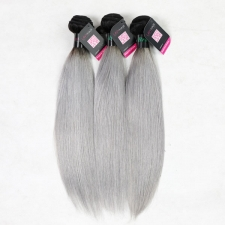 Superior Grade mix 3 or 4 bundles Brazilian Straight Ombre Silver Gray Human hair extensions