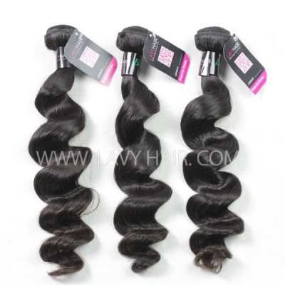 Superior Grade mix 3 bundles with 13*4 lace frontal closoure Brazilian loose wave Virgin Human hair extensions