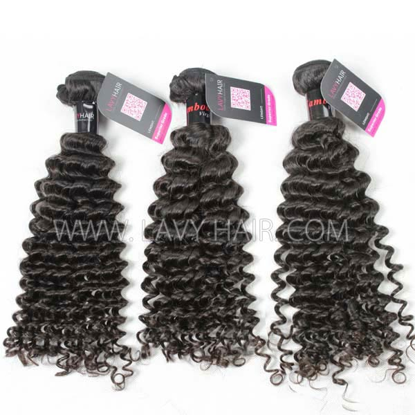 Superior Grade mix 3 bundles with 13*4 lace frontal closure Cambodian deep curly Virgin Human hair extensions