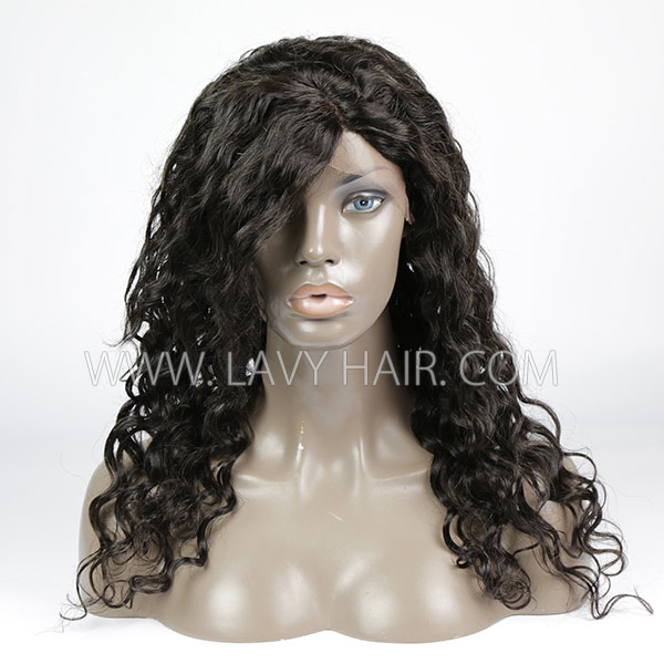 #1B 100% Human hair lace front wigs with bangs 130% density loose wave