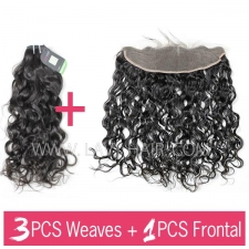 Regular Grade mix 3 bundles with 13*4 lace frontal closure Mongolian Natural Wave Virgin Human hair extensions