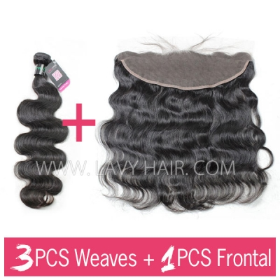 Superior Grade 3 bundles with 13*4 lace frontal Body wave Virgin Human hair Brazilian Peruvian Malaysian Indian European Cambodian Burmese Mongolian