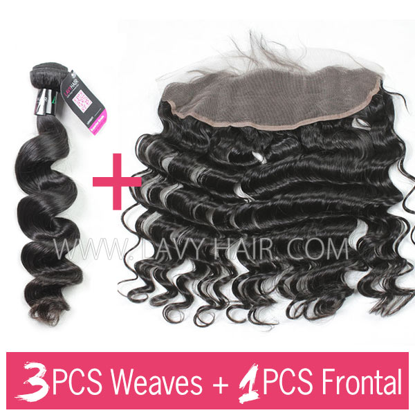 Brazilian Loose Wave 3 Bundles With 13*4 Lace Frontal