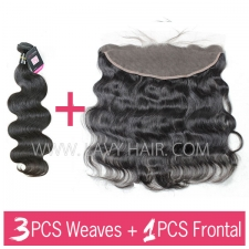 Superior Grade mix 3 bundles with 13*4 lace frontal closure European Body wave Virgin Human hair extensions
