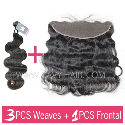 Superior Grade mix 3 bundles with 13*4 lace frontal closure Mongolian Body wave Virgin Human hair extensions